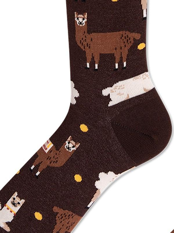 "Many Mornings unisex puuvillased sokid ""Fluffy Alpaca Brown - Yellow - Ecru"""